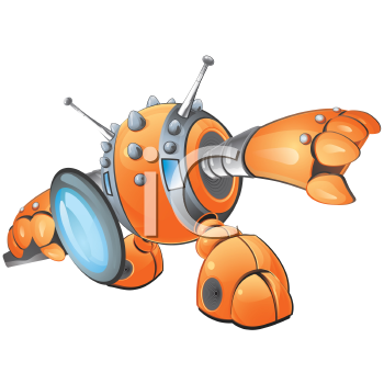 Royalty Free Clipart Image of a Robot With a Magnifying Glass