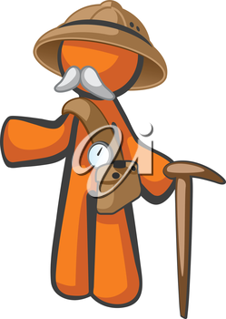 Royalty Free Clipart Image of a Man With a Moustache Holding a Walking Stick