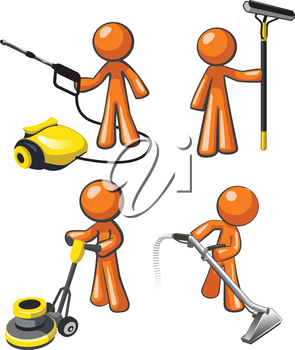 Royalty Free Clipart Image of Janitorial Professionals