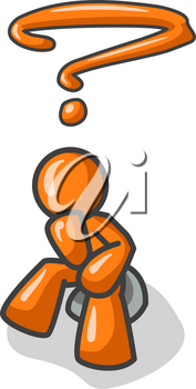 Orange Man sitting on a rock in that familiar pose of The Thinker. If you put this on your design people will think you're smart.