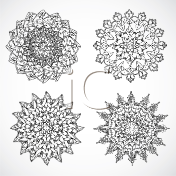 Royalty Free Clipart Image of Four Filigrees