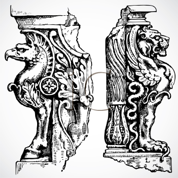 Royalty Free Clipart Image of Eagle and Lion Ornaments