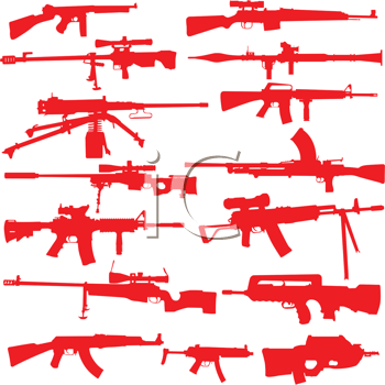 Royalty Free Clipart Image of Rifle and Assault Weapons