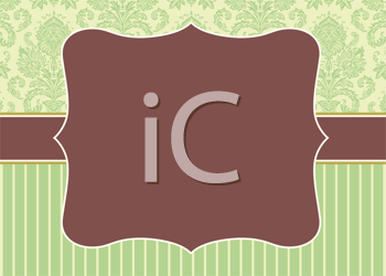 Royalty Free Clipart Image of a Striped and Baroque Paper With a Band and Crest in the Centre