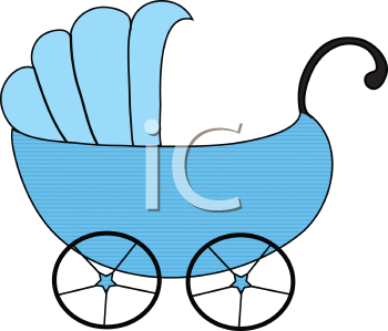 Royalty Free Clipart Image of a Blue Baby Carriage