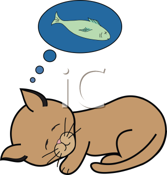 Royalty Free Clipart Image of a Dreaming Kitty
