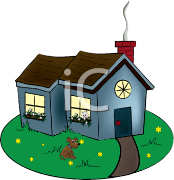 Royalty Free Clipart Image of a Cottage