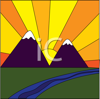 Royalty Free Clipart Image of a Stained Glass Sunshine and Mountains