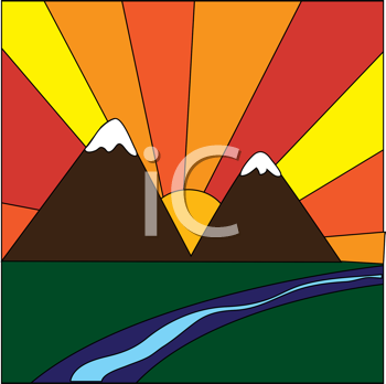 Royalty Free Clipart Image of a Vivid Sunrise Over Mountains By a Stream