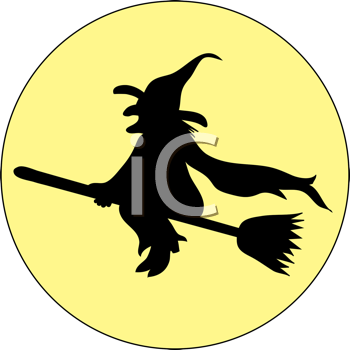 Royalty Free Clipart Image of a Witch Flying in Front of a Full Moon