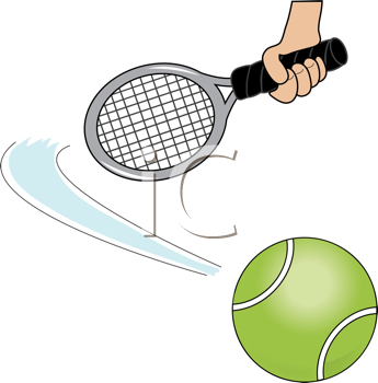 Royalty Free Clipart Image of a Cartoon Tennis Ball and Racket