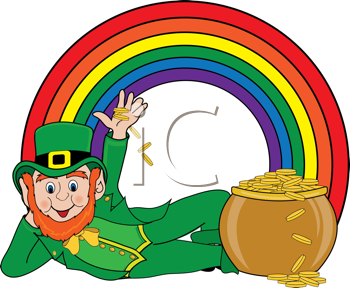 Royalty Free Clipart Image of a Leprechaun at the Bottom of a Rainbow With a Pot of Gold