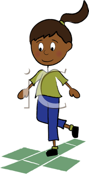 Royalty Free Clipart Image of a Little Girl Playing Hopscotch