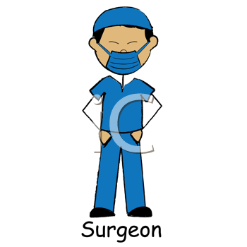 Royalty Free Clipart Image of a Surgeon Stick Figure