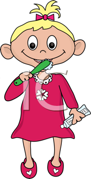 Royalty Free Clipart Image of a Little Girl Brushing Her Teeth