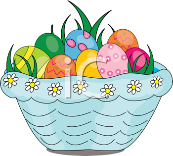 Royalty Free Clipart Image of an Easter Basket Full of Eggs