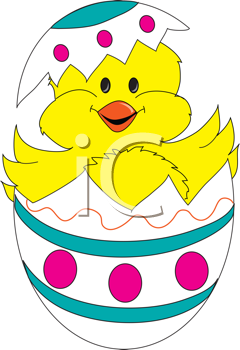 Royalty Free Clipart Image of a Chick Hatching Out of an Egg
