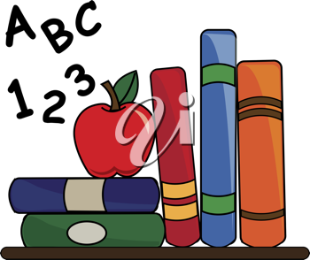 Clip art illustration of some school books on a desk with a red apple and ABC's and 123's.