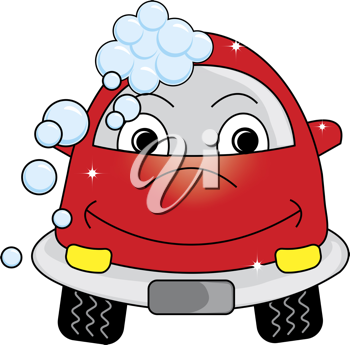 Clip art illustration of a cute cartoon car at the car wash with soap bubbles and gleaming clean spots.