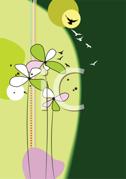 Royalty Free Clipart Image of a Flowers and Birds Background in Green