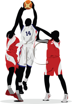 Royalty Free Clipart Image of Three Basketball Players