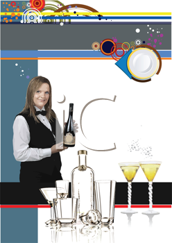 Royalty Free Clipart Image of a Woman With a Bottle of Wine