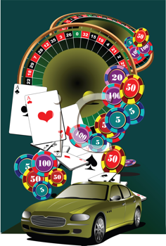 Royalty Free Clipart Image of Casino Elements and a Car