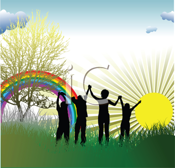 Royalty Free Clipart Image of Children at Sunrise With a Rainbow