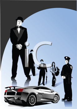 Royalty Free Clipart Image of a Luxury Car With English Gentlemen, a Woman and a Cop