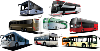 Royalty Free Clipart Image of Eight Buses