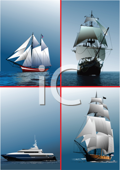 Royalty Free Clipart Image of Four Ships