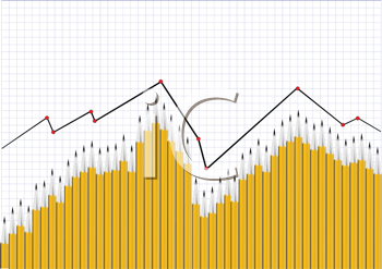 Royalty Free Clipart Image of a Graph of Pencils