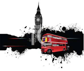 Royalty Free Clipart Image of a Bus In Front of Big Ben
