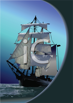 Royalty Free Clipart Image of a Tall Ship