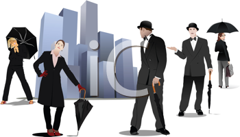 Royalty Free Clipart Image of Men and Women With Umbrellas