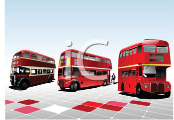 Royalty Free Clipart Image of Three Old London Buses
