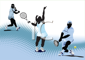 Royalty Free Clipart Image of Tennis Players