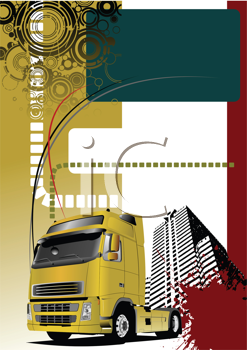 Royalty Free Clipart Image of a Truck on an Urban Background
