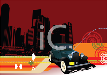 Royalty Free Clipart Image of Urban Scene With an Antique Car in Front