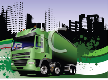 Royalty Free Clipart Image of a Truck Against an Urban Background