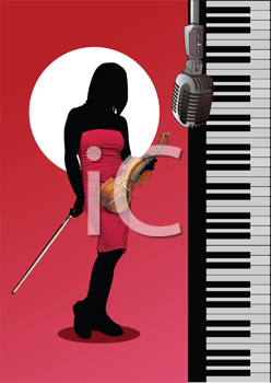 Royalty Free Clipart Image of a Female Violinist in Silhouette Next to a Keyboard and Microphone