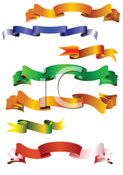 Royalty Free Clipart Image of a Set of Coloured Ribbons