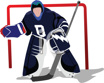 Royalty Free Clipart Image of a Hockey Goalie