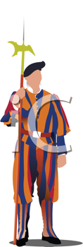 Royalty Free Clipart Image of a Swiss Guard in the Vatican
