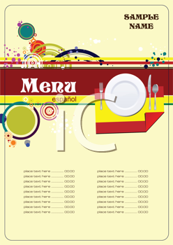 Royalty Free Clipart Image of a Spanish Menu