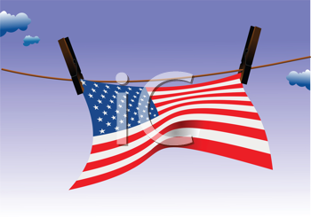 Royalty Free Clipart Image of an American Flag on a Clothesline