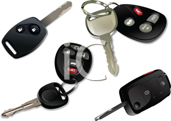 Royalty Free Clipart Image of Four Car Keys
