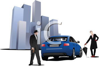 Royalty Free Clipart Image of a Man and Woman Beside a Blue Car Near Buildings