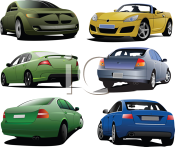 Royalty Free Clipart Image of Six Cars