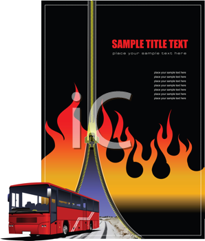 Royalty Free Clipart Image of a Fiery Zipper Background With a Bus
